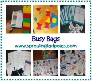 Busy Bag Ideas with Links and Printables